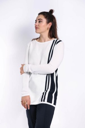 talia top navy stripe
