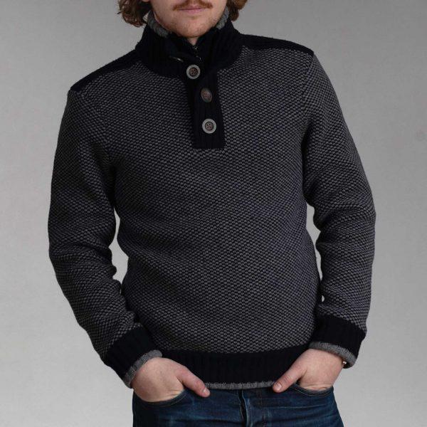Nate gevoerde trui grey navy