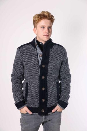 brett cardigan navy grey