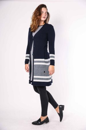 joan cardigan navy multistripe